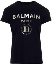 Balmain Foil Logo T-shirt - Black