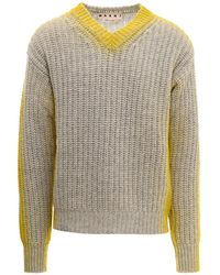 Marni Contrast Detail Knit Sweater - Gray