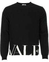 Valentino Vltn Logo Knit Jumper - Black