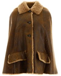 Miu Miu Fur-trim Hooded Cape - Brown