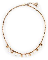 Alexander McQueen Pearl Embellished Necklace - Metallic