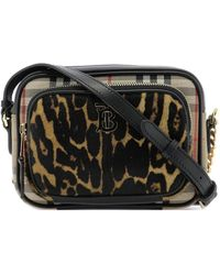 Burberry Vintage Check Leopard Print Camera Bag - Black