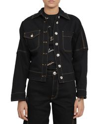 Lanvin Logo Detail Denim Jacket - Black
