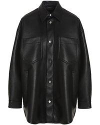 Nanushka Martin Leather Overshirt - Black