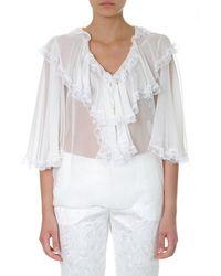 Dolce & Gabbana V Neck Ruffled Sheer Blouse - White
