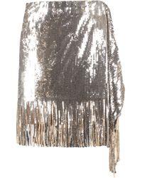 Pinko Sequined Fringed Mini Skirt - Metallic