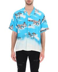 Amiri Aloha Shirt In Printed Silk - Blue