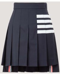 Thom Browne 4-bar Pleated Mini Skirt - Blue
