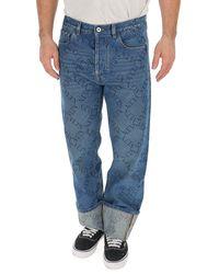 Valentino - Vltn Print Rolled Up Jeans - Lyst