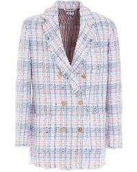 Thom Browne Tweed Double Breasted Blazer - Blue
