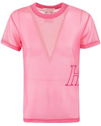 Helmut Lang Sheer Logo Embroidered T-shirt - Pink