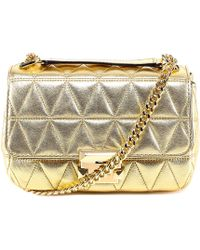 87a0e36473b01 Lyst - Michael Michael Kors Sloan Small Quilted Shoulder Bag in Metallic