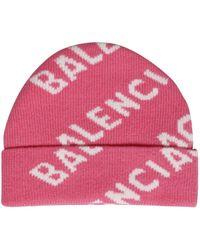 Balenciaga Intarsia Logo Beanie Hat - Pink