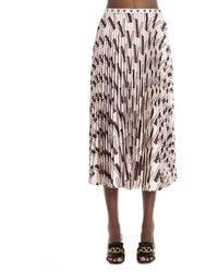 Valentino Pleated Logo Print Midi Skirt - Multicolour