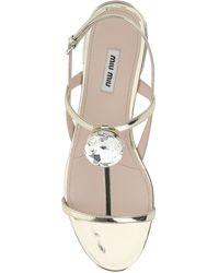 Miu Miu Crystsal Embellished Sandals - Metallic