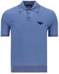 Prada Logo Embroidered Polo Shirt - Blue