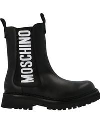 Moschino Logo Print Ankle Boots - Black