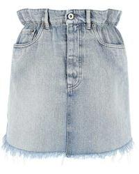 Miu Miu Frayed Paperbag Denim Skirt - Blue