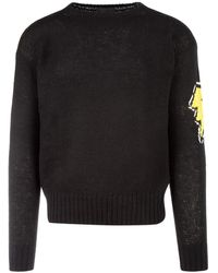 Prada Intarsia Knitted Lighting Jumper - Black