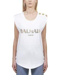 Balmain Printed Cotton Top - White