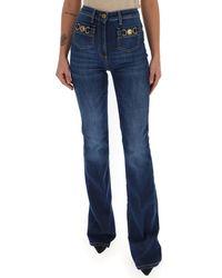 Elisabetta Franchi Mid Rise Flared Jeans - Blue
