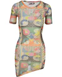 Gcds Patchwork Short Sleeve Dress - Multicolour