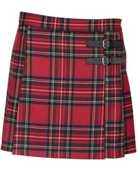 RED Valentino Redvalentino Side Buckle-detailed Tartan Mini Skirt
