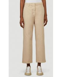 Prada Cropped Wide-leg Pants - Natural