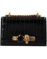 Alexander McQueen Jeweled Mini Satchel Bag - Black
