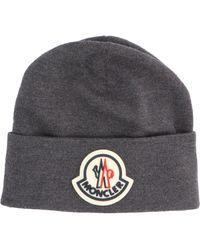 Moncler Logo Patch Beanie - Grey