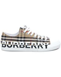 Burberry Logo Print Vintage Check Sneakers - Multicolor