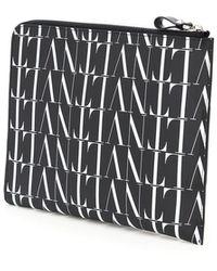 Valentino Garavani Leather Vltn Times Pouch - Black