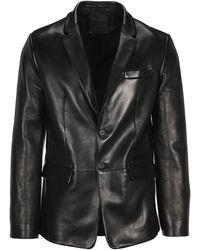 Prada Single Breasted Leather Blazer - Black