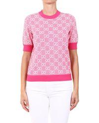 Gucci GG Motif Knitted Short-sleeve Jumper - Pink