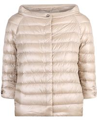 Herno Cropped Sleeve Down Jacket - Natural