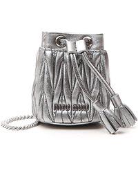 Miu Miu Mini Drawstring Bucket Bag - Metallic