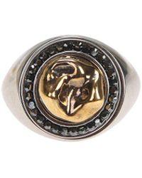 Alexander McQueen Crystal Embellished Tooth Ring - Metallic