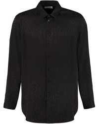 Saint Laurent Silk Jacquard Shirt - Black