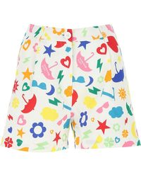 Love Moschino Symbols Printed Shorts - Blue