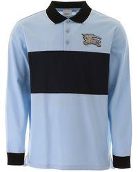 Burberry Long-sleeve Logo Graphic Piqué Polo Shirt - Blue