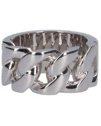 Alexander McQueen Identity Chain Ring - Metallic