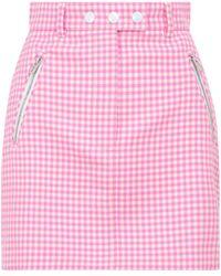 Miu Miu Gingham Checked Mini Skirt - Pink