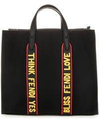 Fendi Slogan Motif Tote Bag - Black