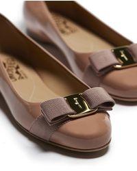 Ferragamo Varina Patent Flats - Brown