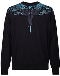 Marcelo Burlon Wings Intarsia Knit Jumper - Black