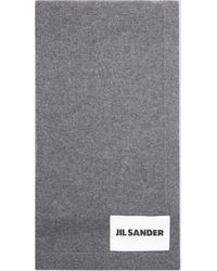 Jil Sander Logo Patched Scarf - Grey