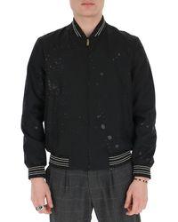 Saint Laurent Paint Splatter Bomber Jacket - Black