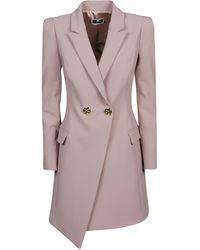 Elisabetta Franchi Double-breasted Asymmetric Coat - Pink