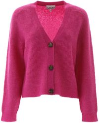 Ganni Ribbed Knitted Cardigan - Pink
