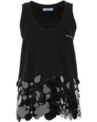 Prada Sleeveless Sequin Embellished Top - Black